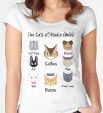 THE CATS OF STUDIO GHIBLI Women's Fitted Scoop T-Shirt