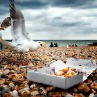 Fish and Chips with Brighton Gulls by heidiannemorris