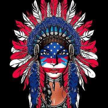 Native Warrior Girl Pocahontas with The American Flag by LeNew