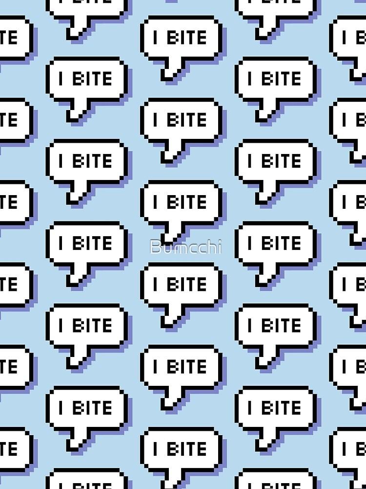 I Bite - Pixel Speech Bubble (Blue) by Bumcchi