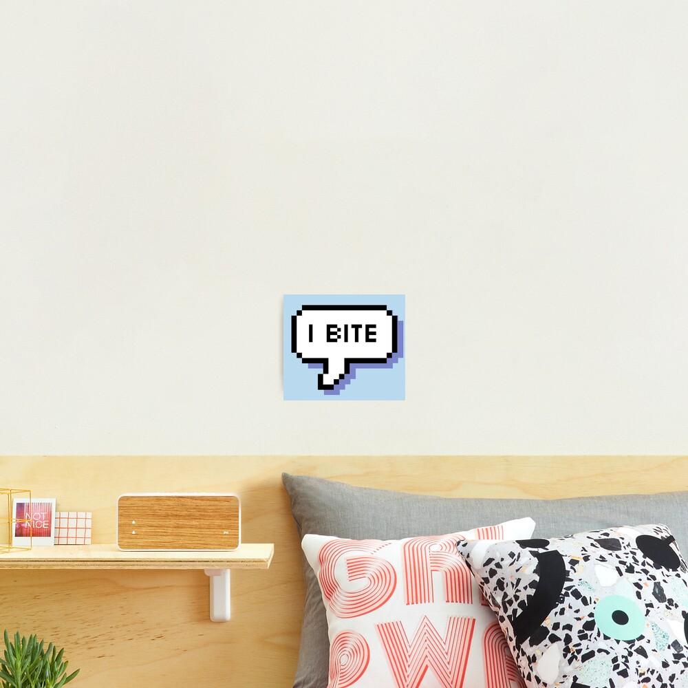 I Bite - Pixel Speech Bubble (Blue) Photographic Print