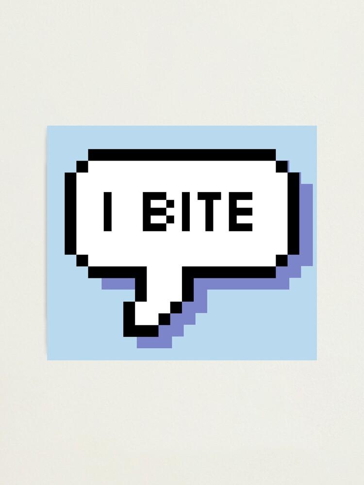Alternate view of I Bite - Pixel Speech Bubble (Blue) Photographic Print