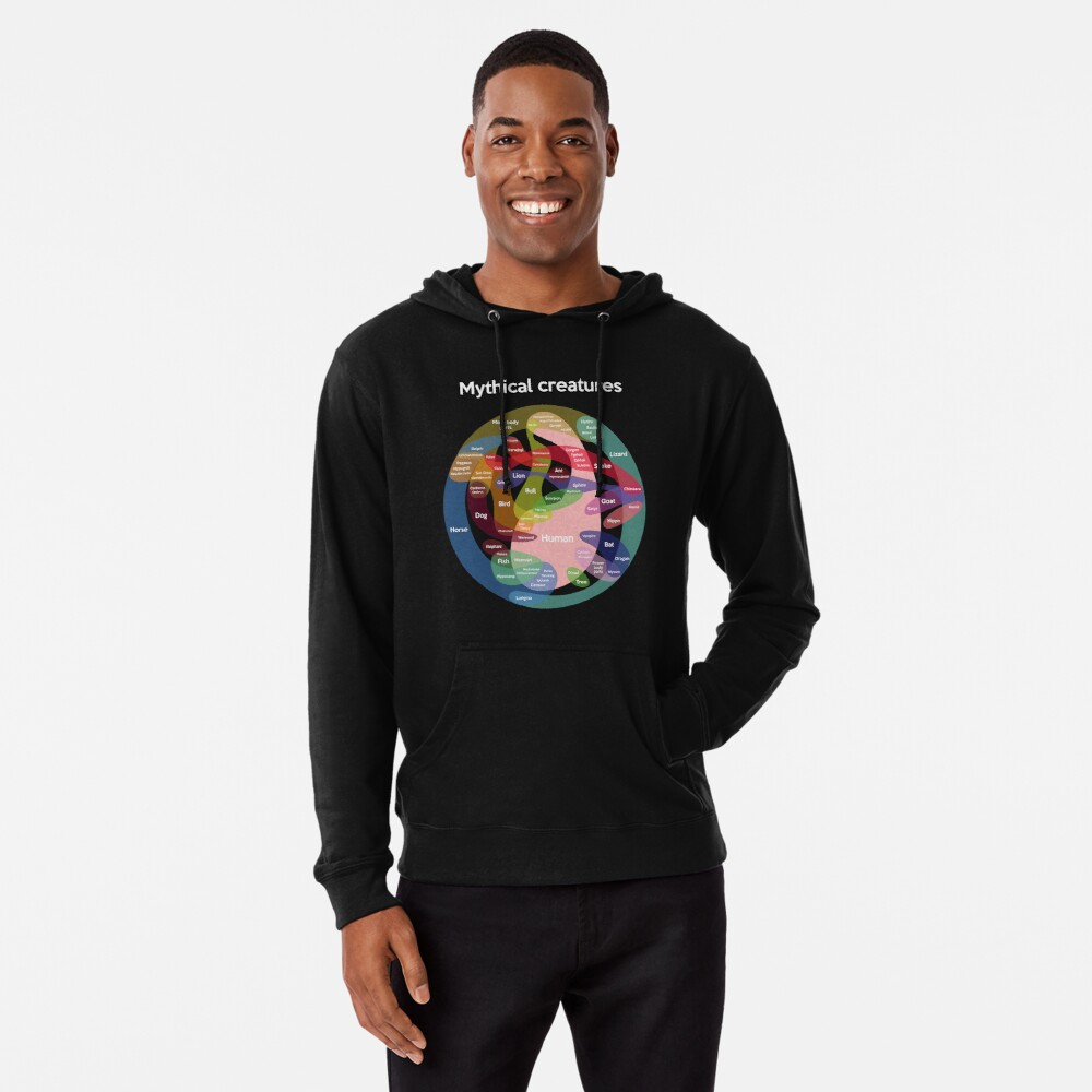 Epic Mythical Creatures Chart Lightweight Hoodie