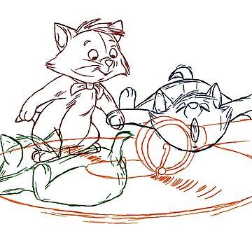 Hand drawn animation Key frames - Aristocats by MinetteMona