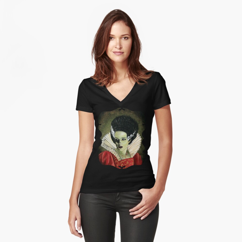 Renaissance Victorian Portrait - Bride of Frankenstein Women's Fitted V-Neck T-Shirt Front