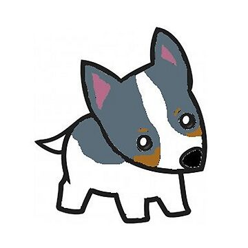 rat terrier white blue and tan cartoon by marasdaughter