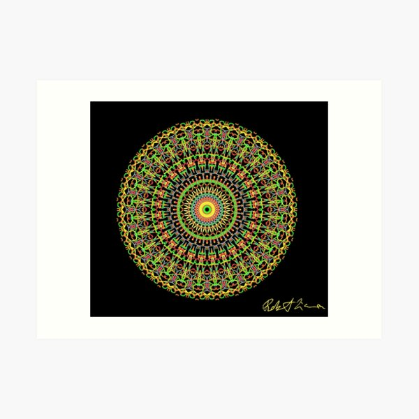 BrightNightLight Yellow Mandala 8 Art Print