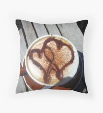 Coffee Hearts Throw Pillow