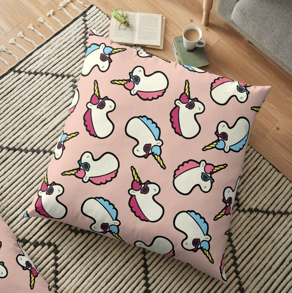 Unicorns Are Cool Pattern - Multi Floor Pillow