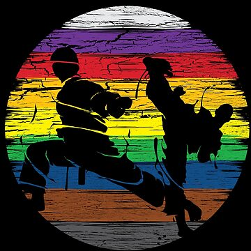 Karate Silhouette Belt Colors Retro T-Shirt by mjacobp