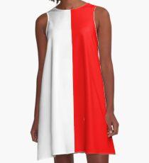 Halb roter halber weißer Minirock A-Linien Kleid