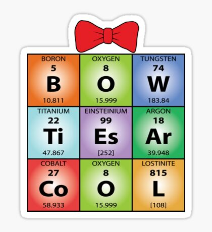 Bow ties chemical elements Sticker