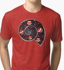 Spiral Galaxy With Beach Ball Planets Tri-blend T-Shirt