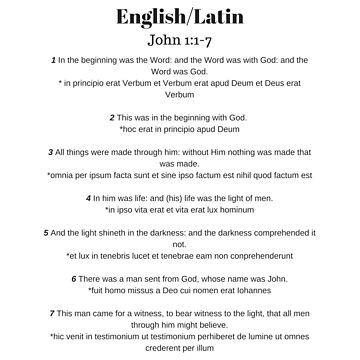 Homeschool Latin English John 1 In The Beginning Word God by GabiBlaze