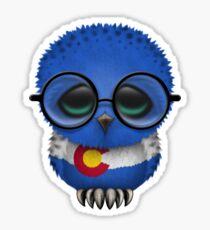 Nerdy Colorado Baby Eule auf einer Niederlassung Sticker