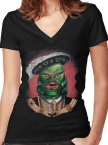 Renaissance Victorian Portrait - Creature from the Black Lagoon Women's Fitted V-Neck T-Shirt