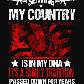 Vintage US Military Family Its In My DNA USA Soldier Flag Tshirt by normaltshirts