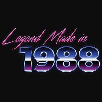 Retro 80s Shirt Born in 1988 Vintage Birthday Gift by normaltshirts