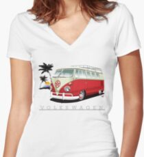 Red & White 11 Window Women's Fitted V-Neck T-Shirt