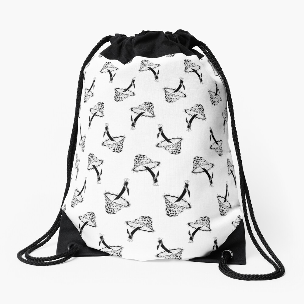 A Pattern of Mushrooms, Black and White Drawstring Bag