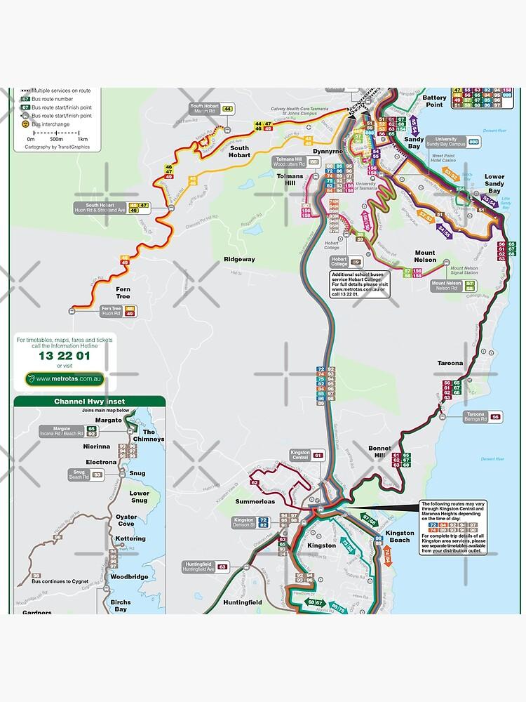 Australia Map Hobart.Hobart South Australia Bus Network Map Hd Tote Bag