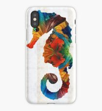 Colorful Seahorse Art by Sharon Cummings iPhone Case/Skin