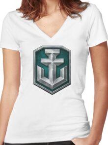 World of Warships Logo Women's Fitted V-Neck T-Shirt