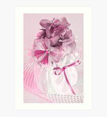 Pink Pansies In Ribboned Pot Art Print