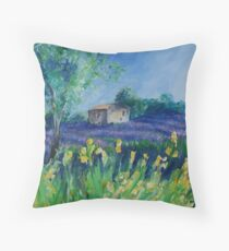 Lavender Field With Yellow Flowers painting Throw Pillow