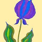 Stylized Purple Flower on Beige Ground by CarolineLembke