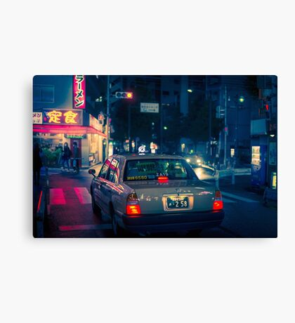 Late night taxi ride Canvas Print