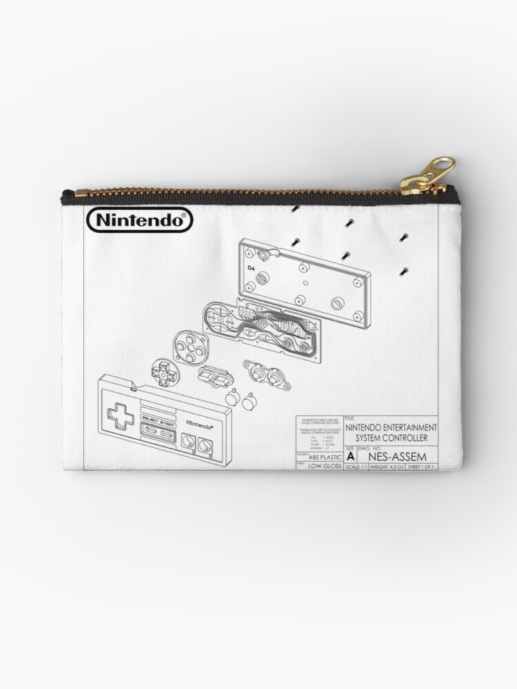 'Exploded NES Controller Schematic' Zipper Pouch by tigglebitties on