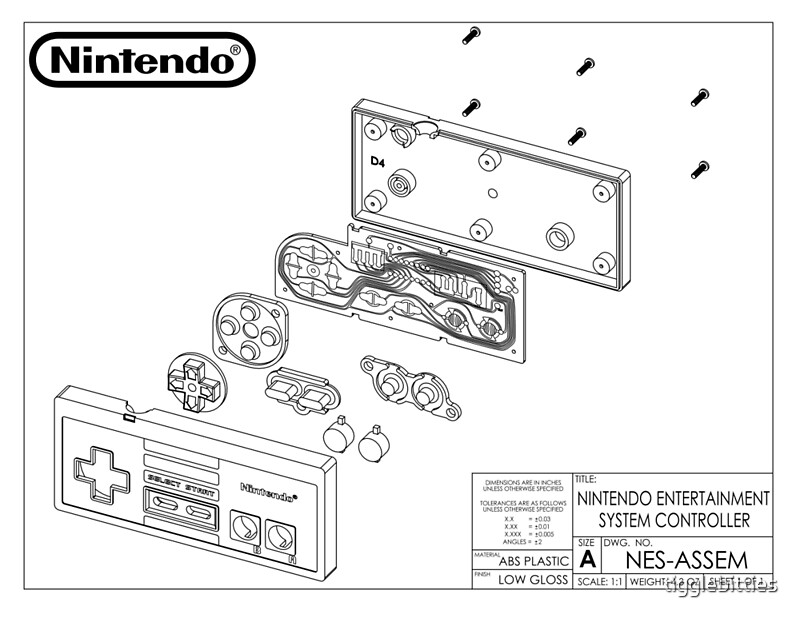 Exploded NES Controller Schematic\