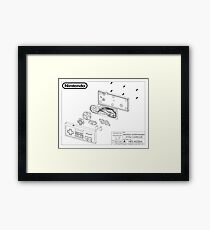 Exploded NES Controller Schematic Framed Print