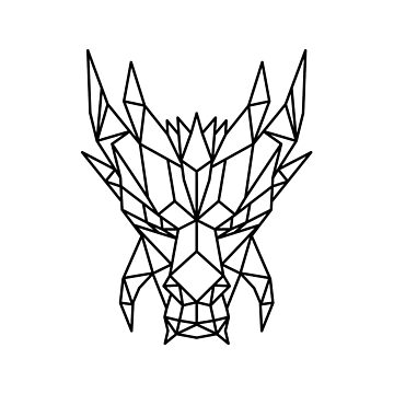 Dragon Head Front Low Poly Black and White by patrimonio