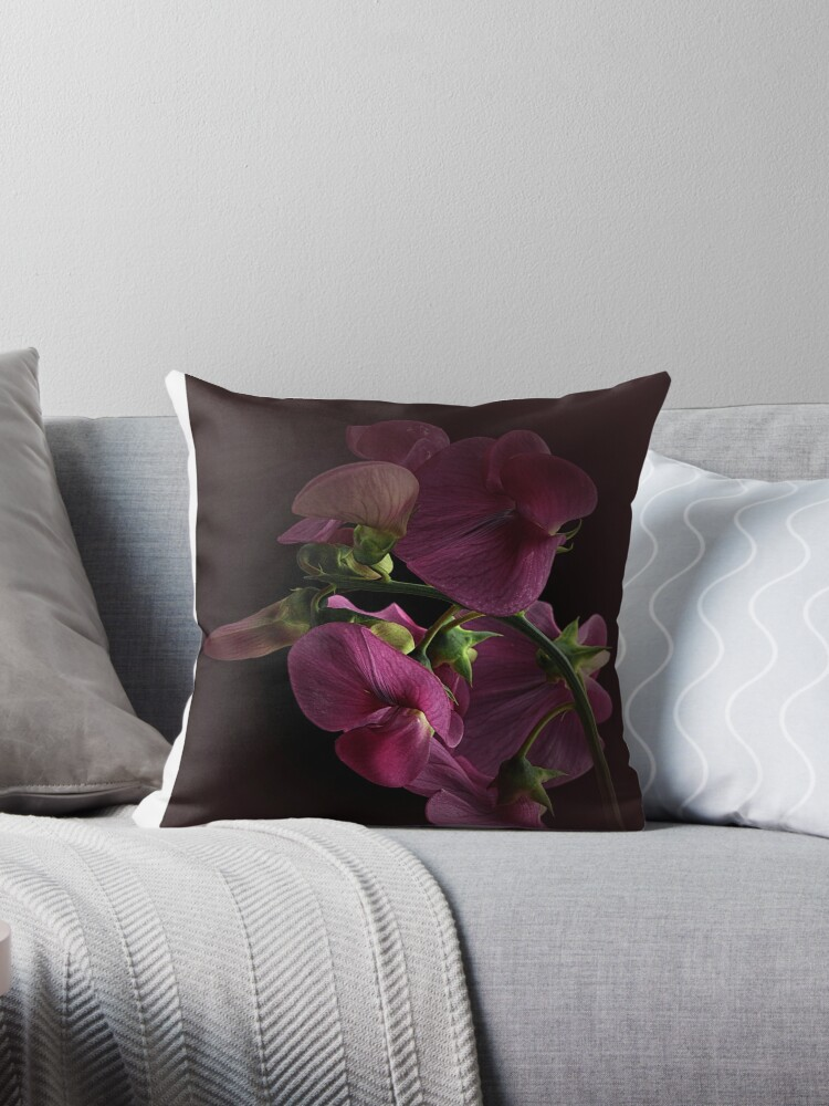 Quot The Wild Sweet Pea Quot Throw Pillows By Ebyarts Redbubble