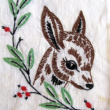 Vintage Deer Embroidery by collageDP