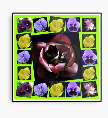 Flowers of Spring Collage Metallbild
