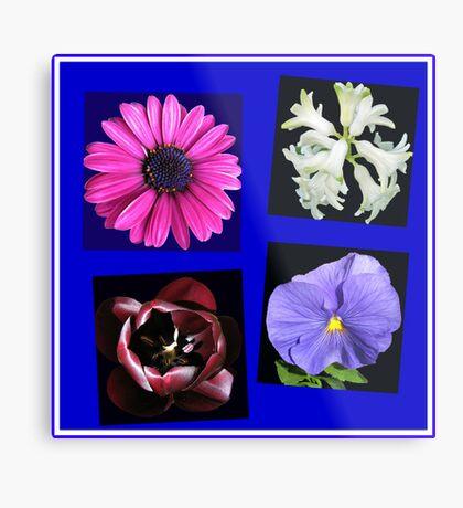 A Collage of Spring Flowers Metallbild
