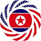 North Korean American Multinational Patriot Flag Series by Carbon-Fibre Media
