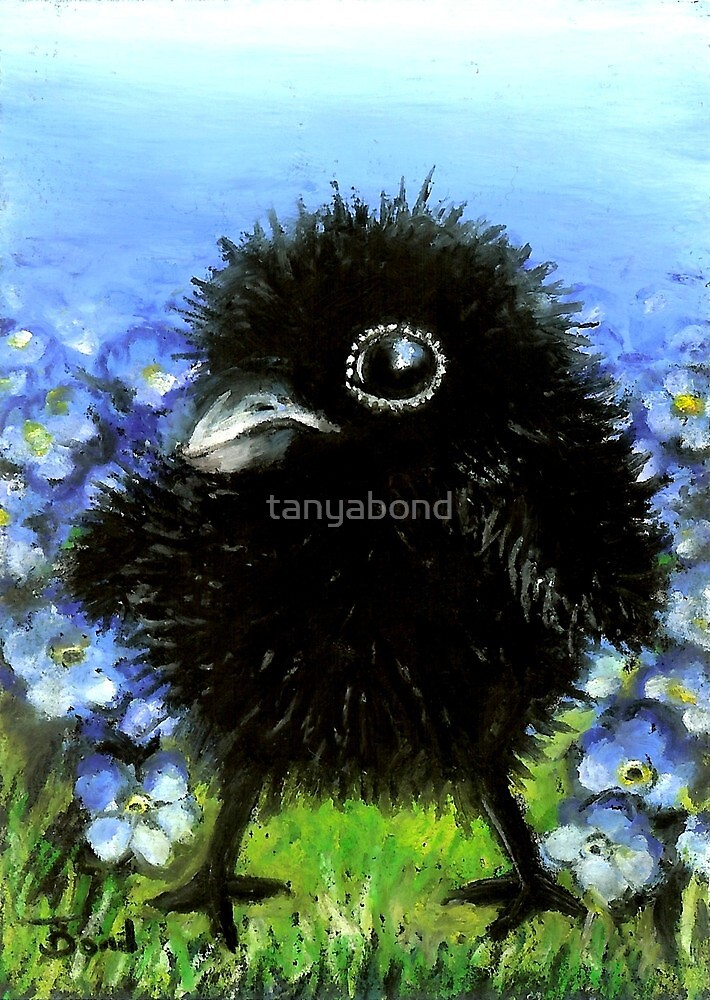Baby raven among forget-me-nots by tanyabond