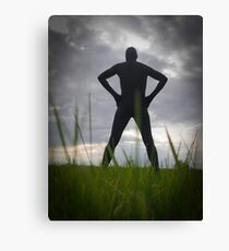 Black Zentai in the Field 2 Canvas Print