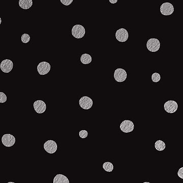 Matte Black Silver Dot Splatter Chic Faux Shiny Metallic Geometric Pattern by jollypockets