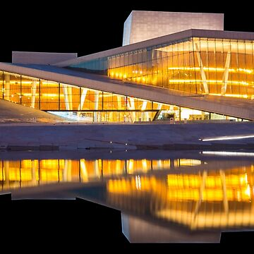 Oslo Opera House at Night Water Reflection Souvenir by peter2art