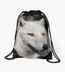Grey Wolf Portrait Drawstring Bag