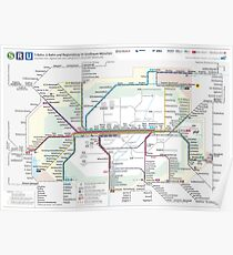 Munich _ Munich - Rail Map in the Greater Munich Area - Germany - HD Poster