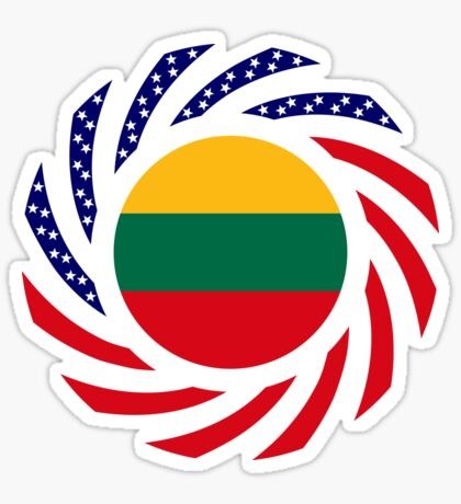 Lithuanian American Multinational Patriot Flag Series Sticker