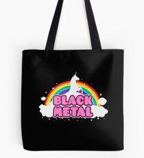 BLACK METAL! (Funny Unicorn / Rainbow Mosh Parody Design) Tote Bag