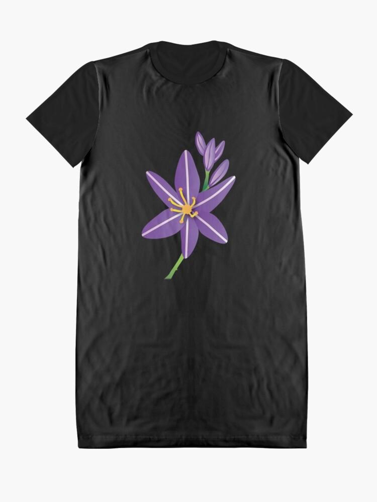 Alternate view of Purple Asphodel Flower Graphic T-Shirt Dress