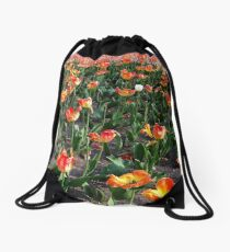 Outstanding in a tulip field from A Gardener's Notebook Drawstring Bag